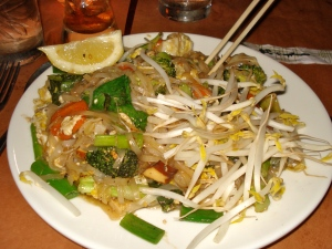 Delicious veggie pad thai, with enough for leftovers for tomorrow.