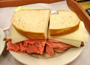 Look how rare and red that meat is; I only ate one half of the sandwich, the other will make an awesome lunch tomorrow.