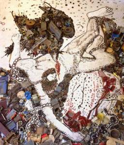"Muniz's ""Prometheo,"" from his Pieces of Junk Series from 2006, based on Titian's painting of the same name."