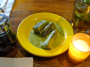 Grape leaves in mint sauce.