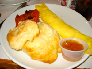 My omelet and giant biscuit.