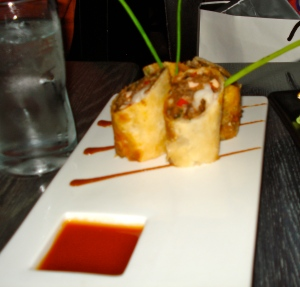 Delicious amazing shrimp and lobster spring rolls.