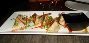 Chicken gyoza potsticker things, not as yummy as the other appetizers.